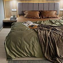 Комплект постельного белья из сатина Турция, постельное белье 100% хлопок оливкового цвета Евро