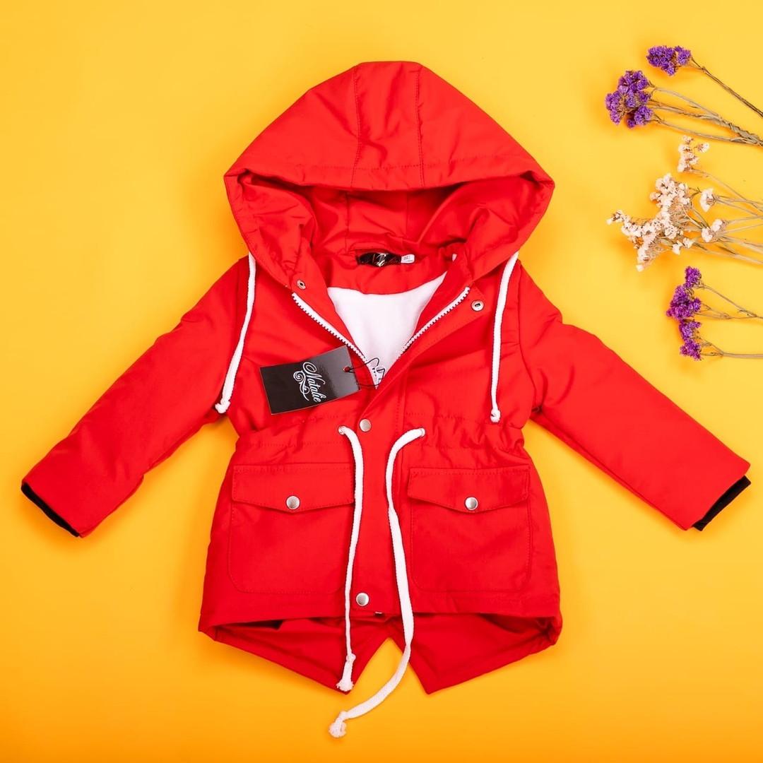 Червона куртка для дівчаток демисезон 80-134 р