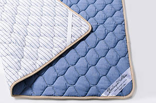 Наматрасник из овечьей шерсти мериносов Goodnight - синий/полоски 160х200
