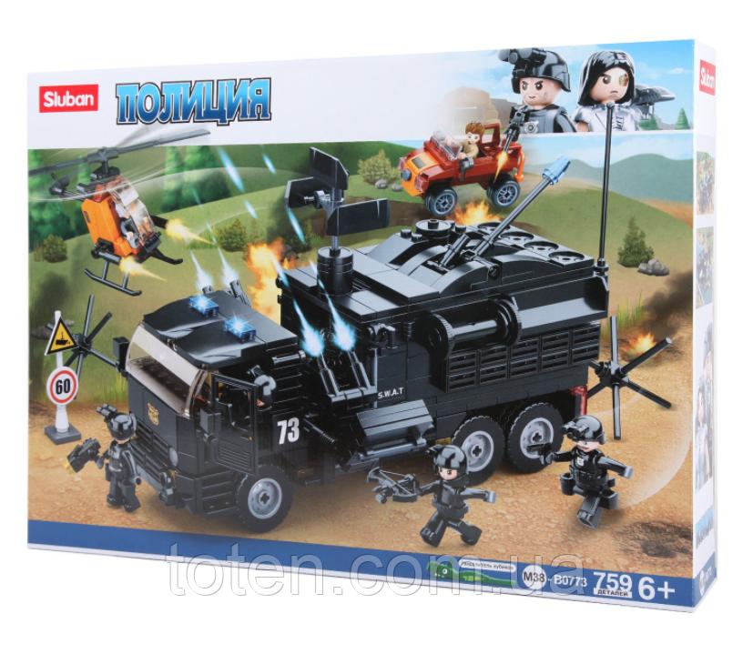"""Конструктор SLUBAN 759 деталей """"Поліція. Військовий вантажівка"""" М38-В0773 в коробці"""