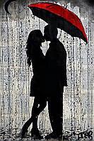 Алмазная вышивка мозаика Чарівний діамант Поцелуй под зонтом КДИ-1051 45х30 см 9цв Квадратные стразы полная
