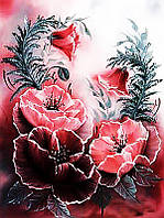 Алмазная вышивка мозаика Чарівний діамант Розовые маки КДИ-0265 40х30 см 19цв Квадратные стразы Полная зашивка
