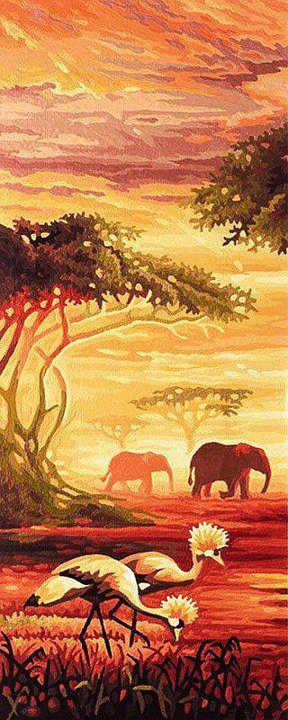 Алмазная вышивка мозаика Чарівний діамант триптих Африканские слоны (часть 1) КДИ-0252-1 20х50 см 25цв