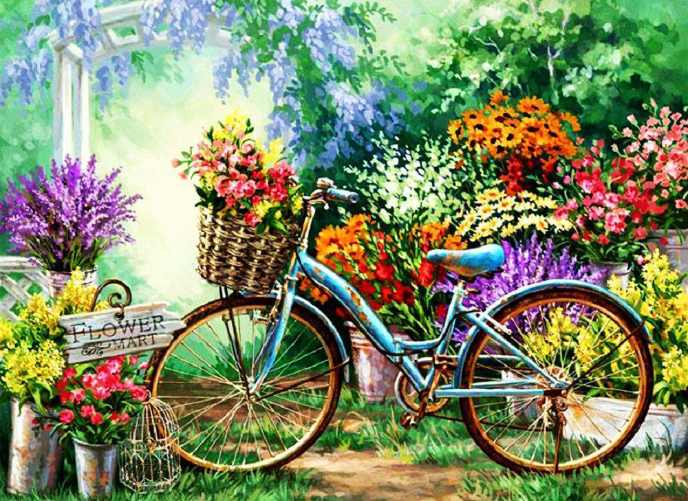 Алмазная вышивка мозаика Чарівний діамант Весенние цветы КДИ-0327 55х40 см 33цв Квадратные стразы зашивка