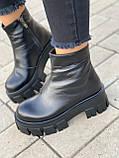 Тільки 38 р! Жіночі черевики ЗИМА чорні натуральна шкіра, фото 2