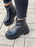 Тільки 38 р! Жіночі черевики ЗИМА чорні натуральна шкіра, фото 3