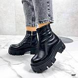 Тільки 38 р! Жіночі черевики ЗИМА чорні натуральна шкіра, фото 7