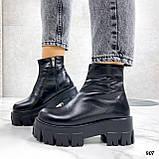 Тільки 38 р! Жіночі черевики ЗИМА чорні натуральна шкіра, фото 6