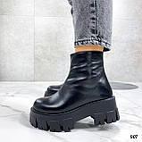 Тільки 38 р! Жіночі черевики ЗИМА чорні натуральна шкіра, фото 4