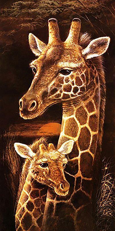 Алмазная вышивка мозаика Чарівний діамант триптих Мамина любовь КДИ-0374 60х30 см Жирафы часть 1 10цв