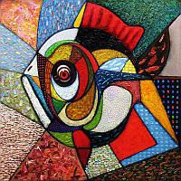 Алмазная вышивка мозаика Чарівний діамант Рыба-Абстракция КДИ-0276 40х40 см 35цв Квадратные стразы Полная