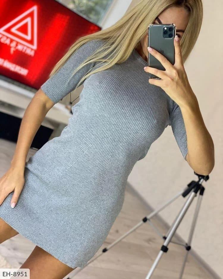 Платье из рубчика с рукавом три четверти