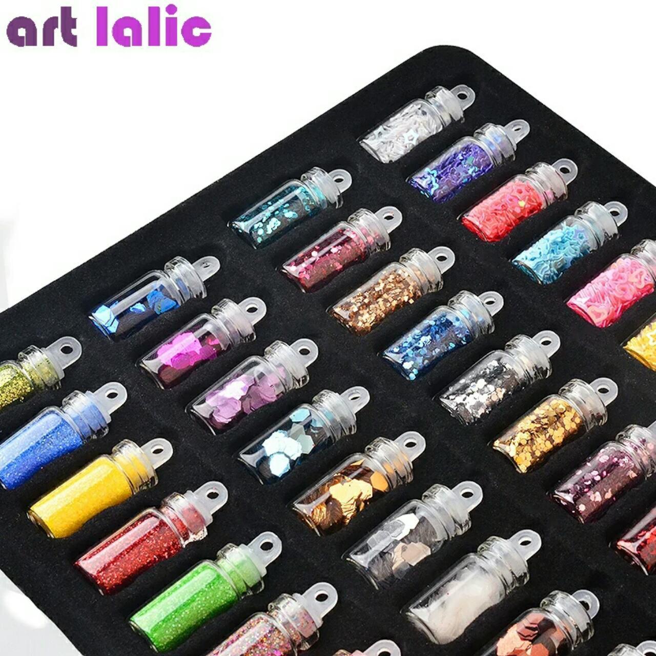 Набор блёстки (глиттеры), паетки, фигурки для дизайна ногтей  48штук