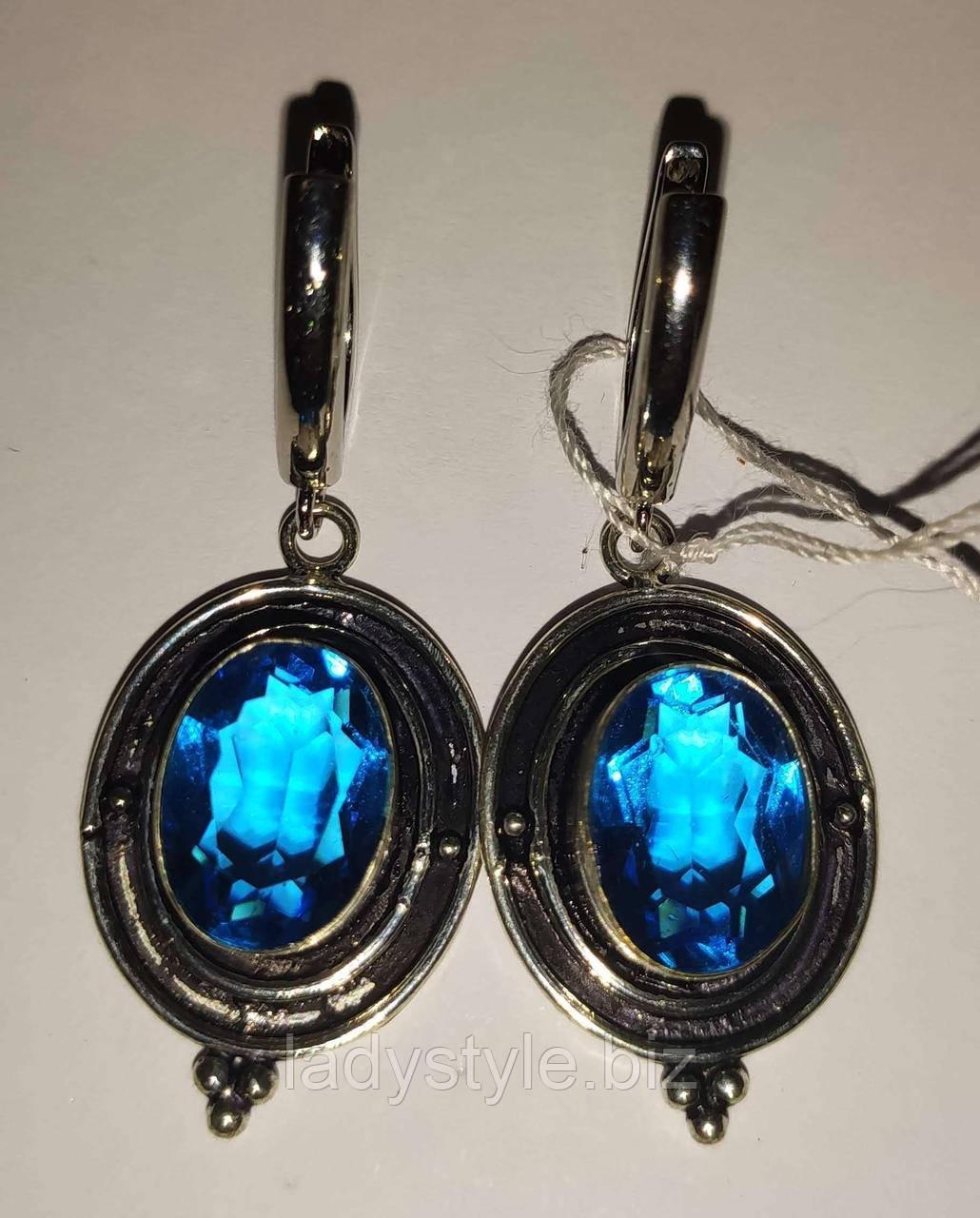 """Срібні сережки з блакитним топазом """"Топаз"""""""