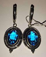 """Срібні сережки з блакитним топазом """"Топаз"""", фото 1"""