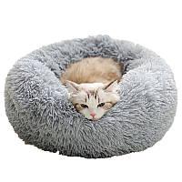 Подушка лежак для кошки и собаки лежанка 50 см светло серая