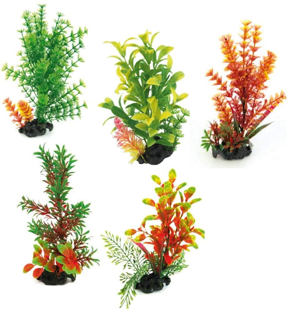 Растение в аквариум 18-20 см Croci FLORA ON PEBBLES искусственное (в ассортименте)