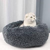 Подушка лежак для кошки и собаки лежанка 50 см темно серая графит
