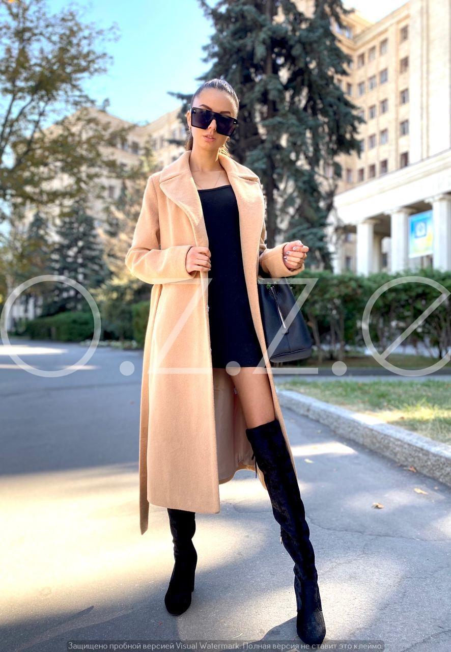 Длинное пальто халат цвета песок O.Z.Z.E Д327