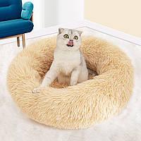 Подушка лежак для кошки и собаки лежанка 50 см бежевый лежанка