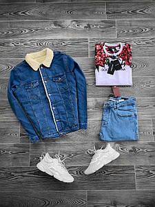 Куртка мужская джинсовая утепленная на меху (демисезон/еврозима)