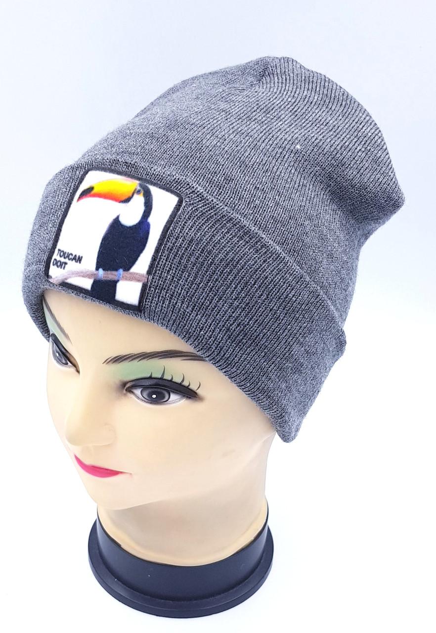 Детская вязаная шапка Klaus Объемный шеврон 53-55см (337-ВА)