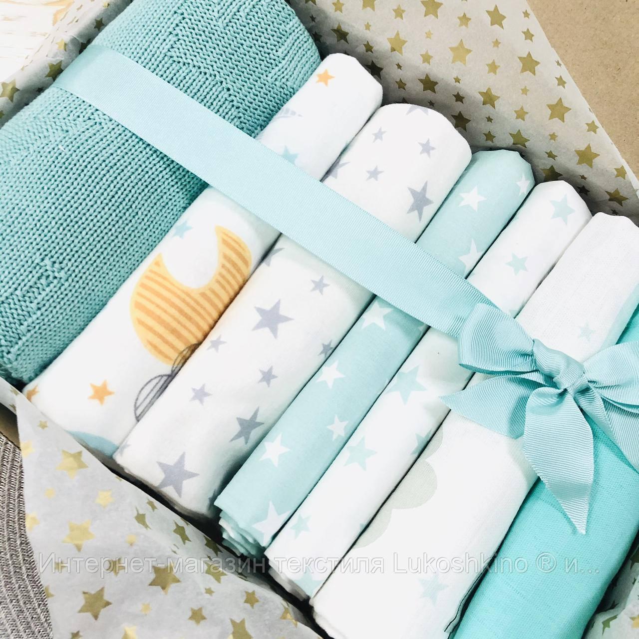 Подарочный набор пеленок Lukoshkino ® нейтральный мята №2