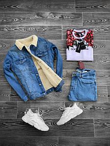 Куртка чоловіча джинсова утеплена на хутрі (демисезон/еврозима)