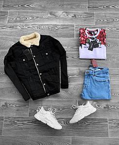 Куртка чоловіча джинсова утеплена на хутрі чорна (демисезон/еврозима)