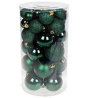 Елочные шары из пластика, набор 40 шт, микс размеров и фактур