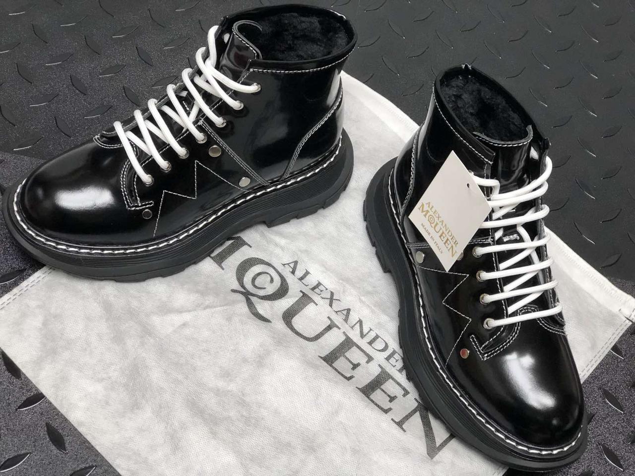 Женские кроссовки Alexander McQueen Boots Black  Winter. ТОП Реплика ААА класса. Черные