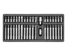 НАБІР БІТ У МЕТАЛЕВОМУ БОКСІ, 40 ШТ:ТORX 30MM: T20-T55, 75MM: T20-T55;SPLINE 30 MM: M5-M12, 75 MM: M5-M12;HEХ