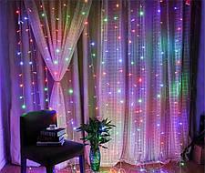 Новогодняя гирлянда водопад разноцветного свечения   Гирлянда штора Xmas Мультиколор 240 LED (2,5*1,5 метров ), фото 3