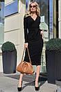 Чорне жіноче плаття міді з розрізом з поясом повсякденне, фото 2