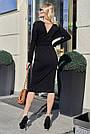 Чорне жіноче плаття міді з розрізом з поясом повсякденне, фото 4