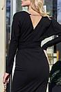 Чорне жіноче плаття міді з розрізом з поясом повсякденне, фото 5