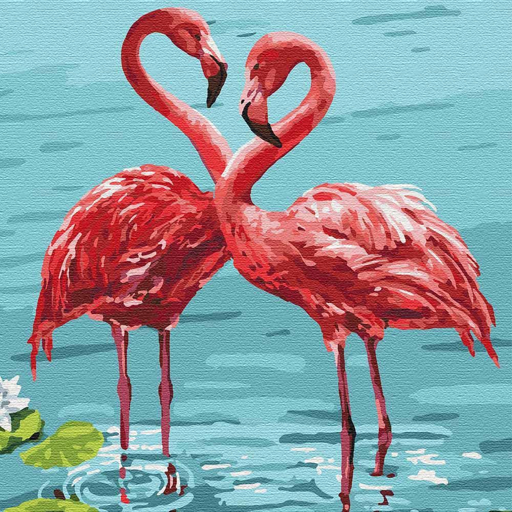 Картина по номерам Яркие фламинго Идейка (KHO4197) 30 х 30 см (Без коробки)