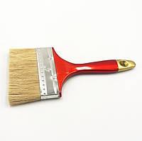 """Пензель плоский """"Євро"""" 4,0"""" (100мм/16мм/57мм), натуральна щетина, пластикова ручка, фото 1"""
