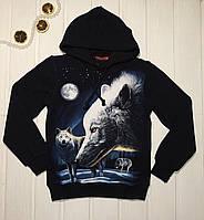 Кофта с капюшоном для мальчика с принтом волка Светится в темноте 128