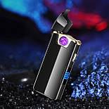 Электроимпульсная USB зажигалка TESLA с вращающейся дугой и Led индикатором заряда, фото 4