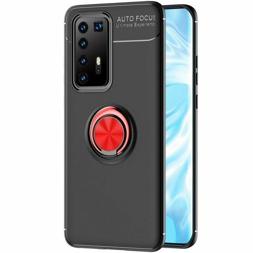 Чехол Fiji Hold для Huawei P40 Pro бампер накладка с подставкой Black-Red