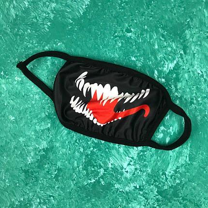 Маска на лицо многоразовая • Бафф Venom Black Черная, фото 2