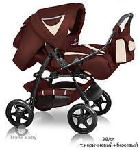 Универсальная коляска-трансформер Trans baby Яся (перекидная ручка,комплект, цвета) коричневый+бежевый