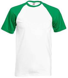 Футболка мужская двухцветная белая с зелёными рукавами (размер: М)