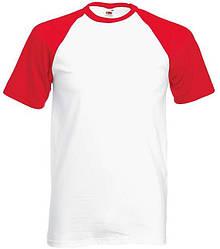 Футболка мужская двухцветная белая с красными рукавами (размер: М)