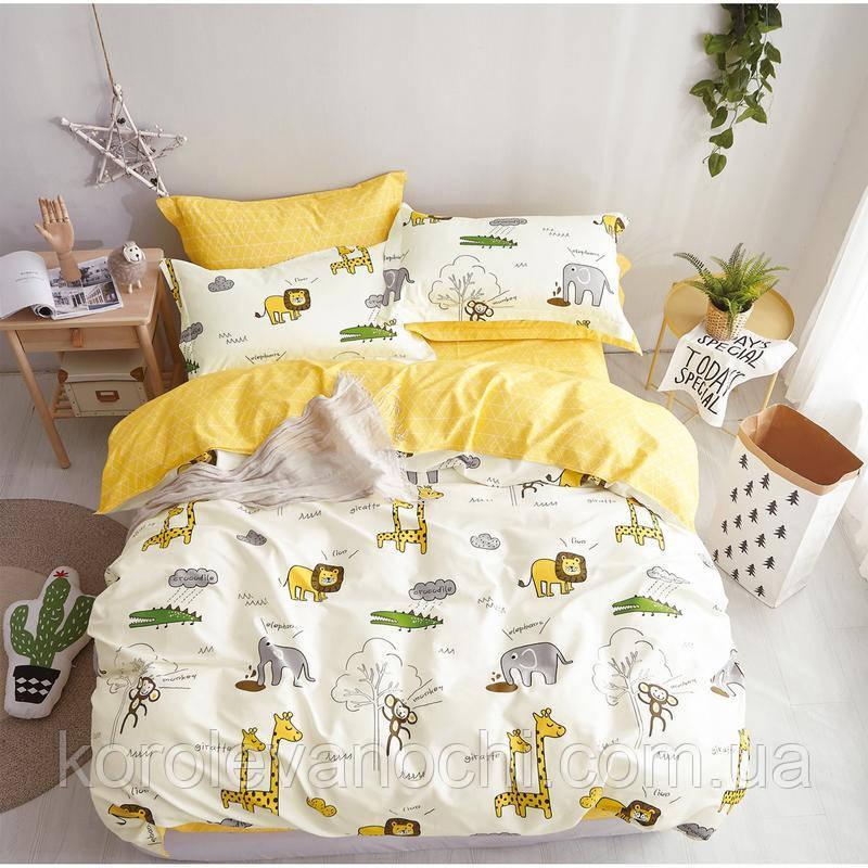 """Двуспальный комплект (Бязь)   Постельное белье от производителя """"Королева Ночи""""   Животные на желтом"""