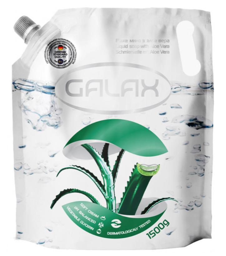 Жидкое мыло антибактериальное Galax Алоэ 1500мл дой-пак