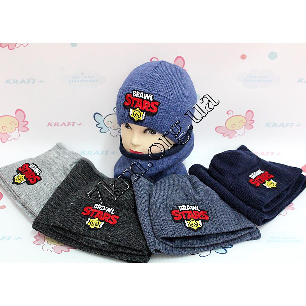Набор детский вязаный шапка +флис и хомут для мальчиков 52-54 р.р. Украина Оптом 2465-K