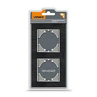 VIDEX BINERA Рамка черный алюминий на 2 места горизонтальная