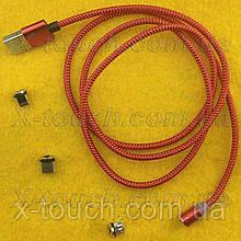Магнітний USB кабель 3А з заглушкою Lightining, Type-C, Micro USB, червоний